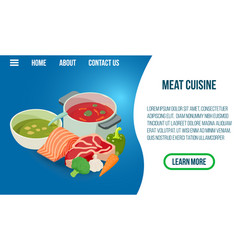 meat cuisine concept banner isometric style vector image