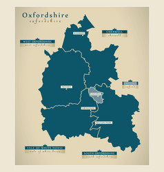 Modern map - oxfordshire county with district vector