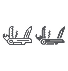 Multi tool line and glyph icon camping and vector