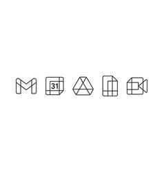 new google product logo set with flat black vector image