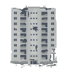 one desrtoyed nine-story eastern european building vector image