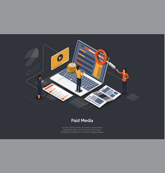 Paid media marketing concept pay per click ppc vector