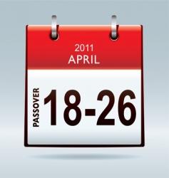 passover calendar 2011 vector image
