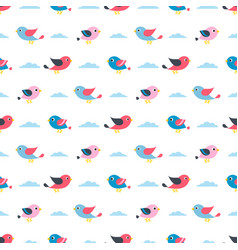 Pattern with birds and clouds vector