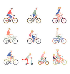 people on a bicycle set of cartoon men women and vector image