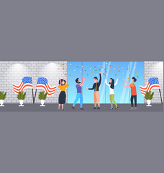people with usa flags celebrating 4th july vector image