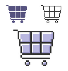 Pixel icon shopping trolley in three variants vector