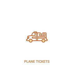 Plane tickets concept 2 colored icon simple line vector