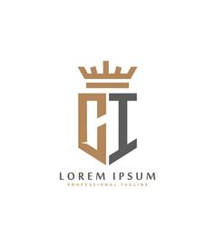 premium ci monogram two letters ci elegant vector image