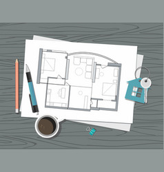 Project architect house plan and key vector
