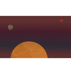 Red planet on space landscape vector