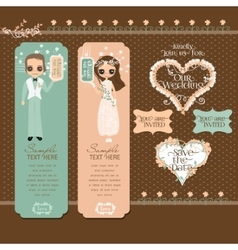 Romantic Couple Labels Set vector image
