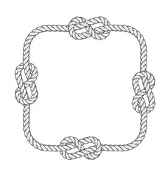 Rope frame - square rope frame with knots vector