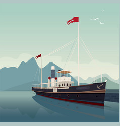 Scenic area with old ship at pier on clear day vector