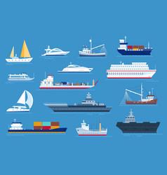 sea boats fishing and cargo ships yacht vector image