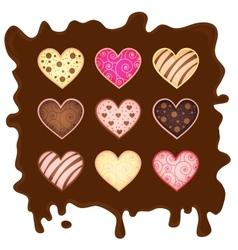 Set heart-sweetmeats on chocolate vector