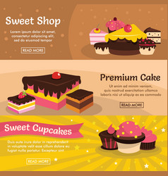 Set of three horizontal sweet cake banners with vector