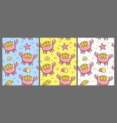 Set seamless pattern with crabs in crowns vector