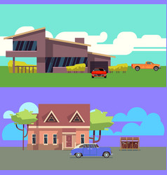 set with residential houses with cars flat vector image