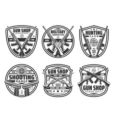 shop gun icons crossed rifles and pistols ammo vector image