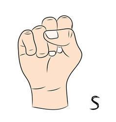 Sign language and the alphabetThe Letter s vector