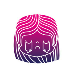 Silhouette girl head with hairstyle and crying vector