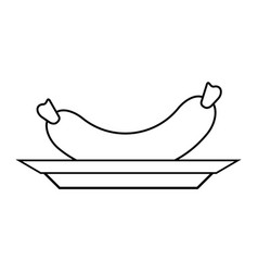 single sausage icon image vector image