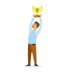 smiling winner holding award over head vector image