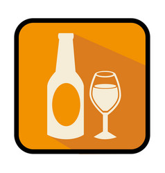Square frame with bottle and glass vector