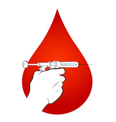 Syringe with injection in hand and a drop vector
