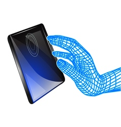 tablet and computer hand vector image