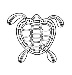 Turtle aboriginal art style monochrome isolated vector