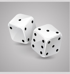 Two white game dices casino gambling vector