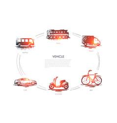 vehicle - train car shuttle truck bike vector image