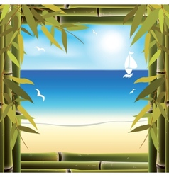 View of the seashore from the resort hotel window vector image