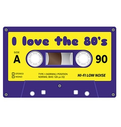 Vintage cassette with lettering title I love the vector