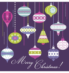 Vintage Christmas Tree Balls - card or background vector