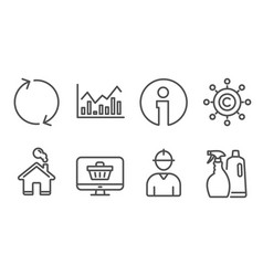 Web shop infochart and refresh icons copywriting vector