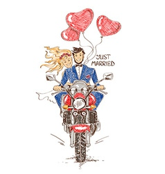 Wedding couple riding on a motorbike vector image