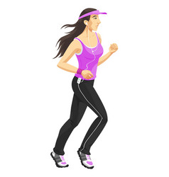 Woman jogging color vector