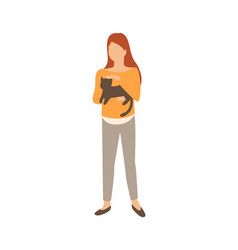 woman with cat in hands isolated female and pet vector image