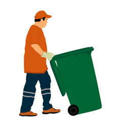 Worker with recycle bin collects leaves and trash vector