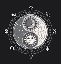 Yin yang symbol with sun moon and magic signs vector