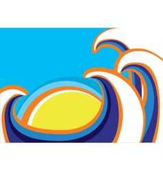 Abstract sea waves poster Color vector image vector image