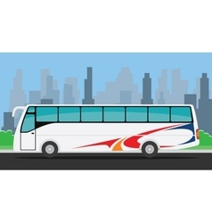 bus on the road with city background vector image vector image