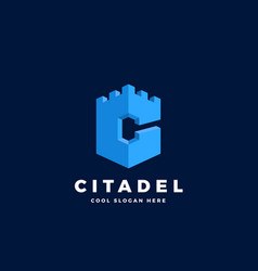 Citadel castle or tower in the form of letter c vector