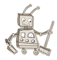 cleaning robot vector image vector image