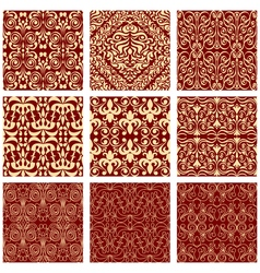 Excellent seamless floral background set of vector image vector image