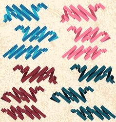 Flat color ribbons on the textured background vector image vector image