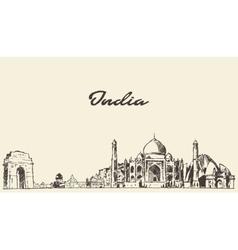 India skyline drawn sketch vector image vector image